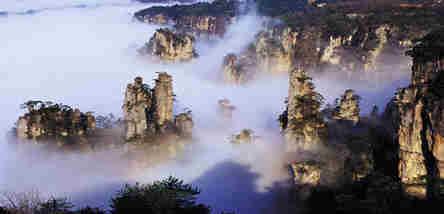 重庆到凤凰古城、张家界国家森林公园、玻璃廊